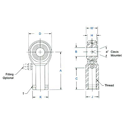 "Aurora MW-8 MW Series 1//2/"" Precision Right Hand Female Rod End"