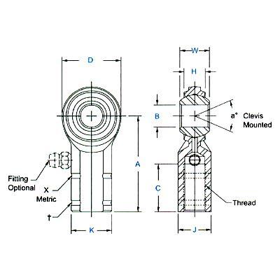 Aurora Metric Female General Purpose Rod End M6 X 1.0 Right Hand Thread